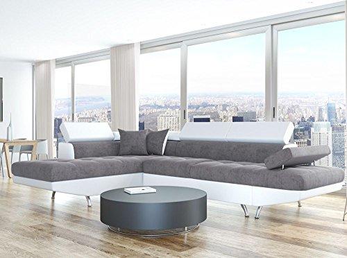 Usinestreet Rio Canapé d'Angle Gauche Convertible Tissu Blanc/Gris 295 x 205 x 75 cm