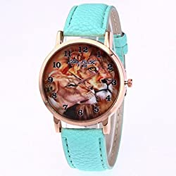 The Best Gift, Anglewolf Luxury Fashion Lions Printing PU leather Quartz Sports Watch Mint Green