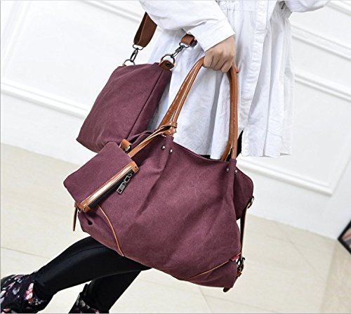 MoliMode Frauen Fashion Canvas Handtaschen Crossbody Beutel Wallet Mobiltelefon Geldbeutel Schlüsselhalter 3 Stück Set Rot