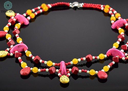 """Halskette """"Yam Chau"""", Kette für Frauen (Korallenkette aus Handarbeit), exklusiver Schmuck mit Perlen für Frauen mit Stil. Handgefertigte Perlenkette aus Thailand"""