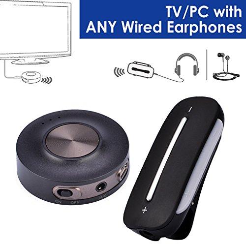 Avantree Plug & Play Wireless Audio Transmitter und Receiver SET für TV PC, Sender und Empfänger, aptX LOW LATENCY, Bluetooth für kabelgebundene Kopfhörer / Lautsprecher - HT3187 [24M Garantie] (Wireless-tv-kopfhörer Set)