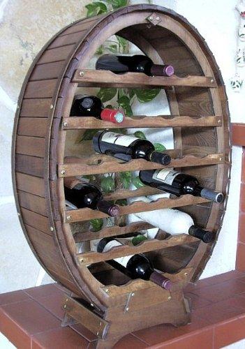 Weinregal Weinfass für 24 Flaschen Braun gebeizt Bar Flaschenständer Fass Flaschenhalter - 3
