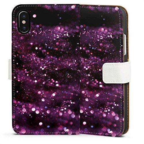 Apple iPhone X Silikon Hülle Case Schutzhülle Glitzer Muster Lila Sideflip Tasche weiß