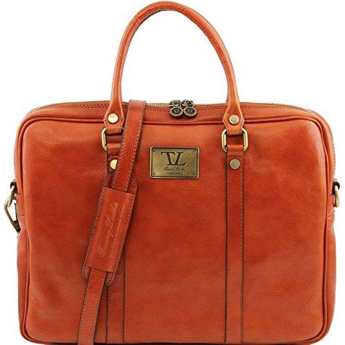 Tuscany Leather - Prato - Elégante serviette pour portable en cuir Marron foncé - TL141283/5 Miel
