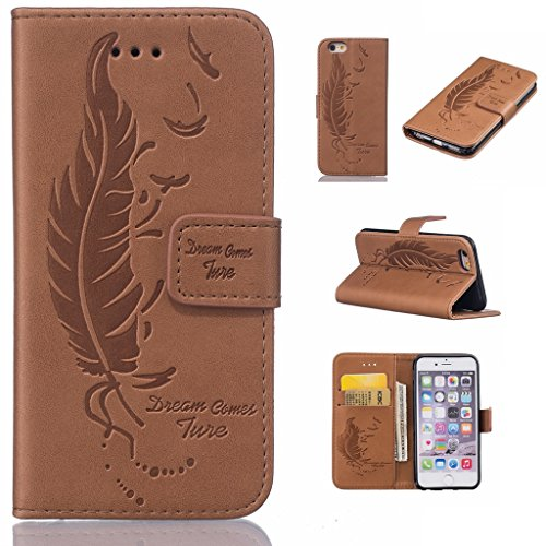 Uming® Il modello della stampa della custodia per armi variopinta della copertura Holster Cover Case ( Dual Pressure feather birds ( Rose 2) - per IPhone 5S 5 5G SE IPhone5S IPhoneSE ) Flip-artificial Dual Pressure feather birds ( brown)