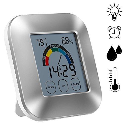 SODIAL Indoor Thermometer Luftfeuchtigkeit Monitor mit Touchscreen Hintergrundbeleuchtung Timer Smart Digital Hygrometer Temperaturanzeige Meter mit Uhr