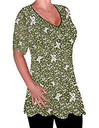 17fade3e34d Eyecatch - Aspen Womens Print Blouse Casual V Neck Tunic Ladies Plus Size  Flared Long Top