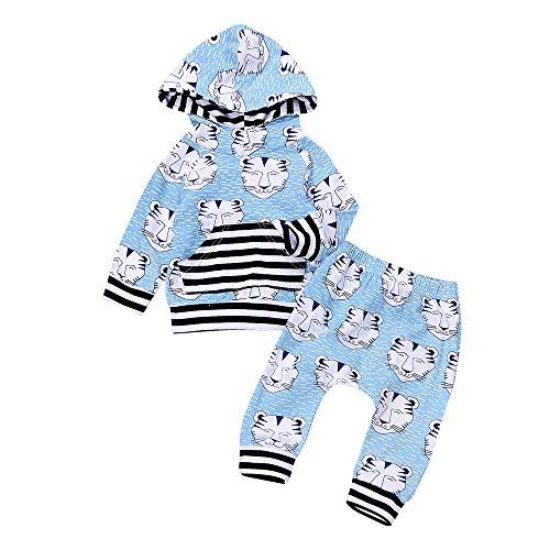by Tiger drucken Kapuzenpullover Unisex warm Tier hosen langarm niedlich Säugling pullis,0-24Monate (Blau, 6 Monate) (Neugeborene Tiger Kostüme)