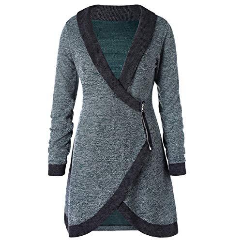 (Mode Damen Lange Pullover Frauen gestrickte Bluse Langen Mantel Schal Kragen Kontrast Trim seitlichem Reißverschluss Cardigan Moonuy)