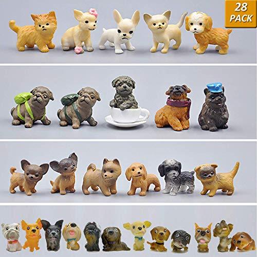 GuassLee Mini Plastic Puppy Dog Figuren für Kinder - 28er Pack High Imitation Detaillierte handgemalte realistische kleine Hundefiguren Spielzeug-Set -