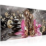 Bilder Buddha Orchidee Wandbild 100 x 40 cm Vlies - Leinwand Bild XXL Format Wandbilder Wohnzimmer Wohnung Deko Kunstdrucke Pink 1 Teilig -100% MADE IN GERMANY - Fertig zum Aufhängen 505312a