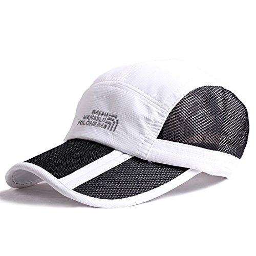 Kuyou Sport Mesh Trucker Cap Faltbarer Sonnenschutz Baseball Kappe (Weiß) -