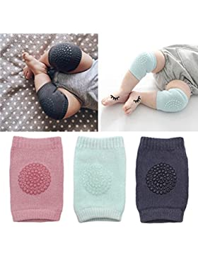 Isuper Baby Kniebandage 3 Paare Verstellbarer Elastische Kinder Knieschoner Knie Sleeve Krabbelschoner anti-Rutsch...