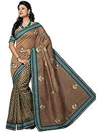 Aarti Apparels Women's Designer Embroiderd Cotton Saree_Brown_CW-6219