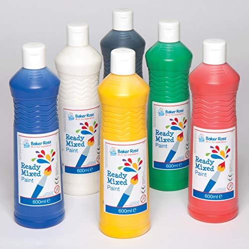 Bastelfarben auf Wasserbasis für Malarbeiten und Bastelprojekte in 6 Bastelset für Kinder / Erwachsene (6 x 600 ml Flasche). Farben: Rot, Königsblau, Gelb, Mittelgrün, Schwarz & Weiß -