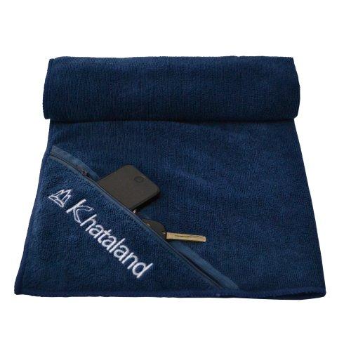 Khataland Equanimity Sporthandtuch mit Reißverschlussfach, Mitternachtsblau, 100 x 61 cm
