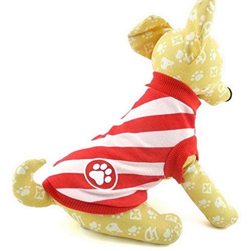 ranphy klein Hund T-Shirt Puppy Sommer Kleidung für Mädchen Diagonal Streifen Weste Shirt rot -
