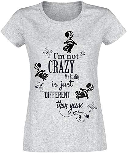 Alice Bekleidung (Alice im Wunderland Grinsekatze - I'm Not Crazy T-Shirt grau meliert M)