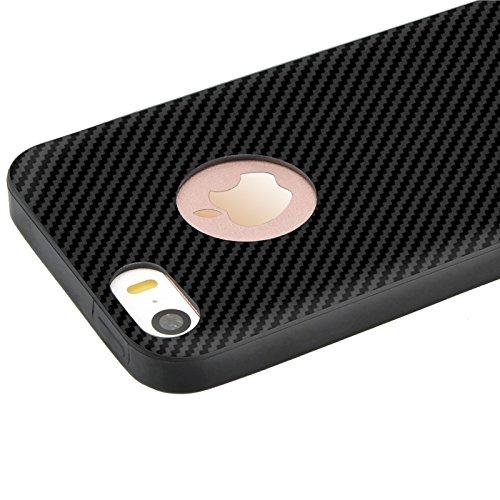 iPhone 5 / 5s / SE Hülle, Yokata Silikon Weich Bumper und Anti-Scratch Löschen Jelly Case Ultra Slim Cover Schutzhülle Sehr Dünn Handyhülle + 1 x Kapazitive Feder - Argent Schwarz