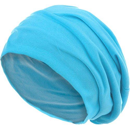 style3 Slouch Beanie aus atmungsaktivem, feinem und leichten Jersey Unisex Mütze Haube Bini Einheitsgröße, Farbe:Hellblau