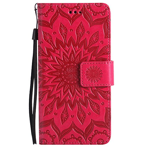 Für Sony Xperia X Fall, Prägen Sonnenblume Magnetic Pattern Premium Soft PU Leder Brieftasche Stand Case Cover mit Lanyard & Halter & Card Slots ( Color : Red ) Red