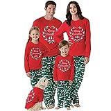 Weihnachten Schlafanzug Familien Outfit Mutter Vater Kind Baby Pajama Casual Langarm Nachtwäsche Print Sleepwear Casual Rundkragen Drucken Langarmshirt Oberteile Top Hose Set von Innerternet