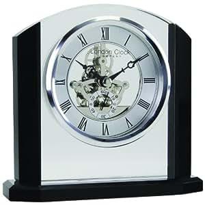 London Clock Company Horloge de cheminée style Napoléon Mouvement squelette Noir