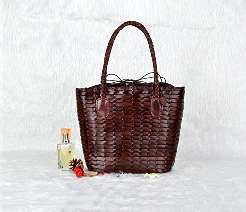 DJB/Rinder in Baotou, Rattan Woven Leder Damen Tasche Handtasche Kaffeebraun