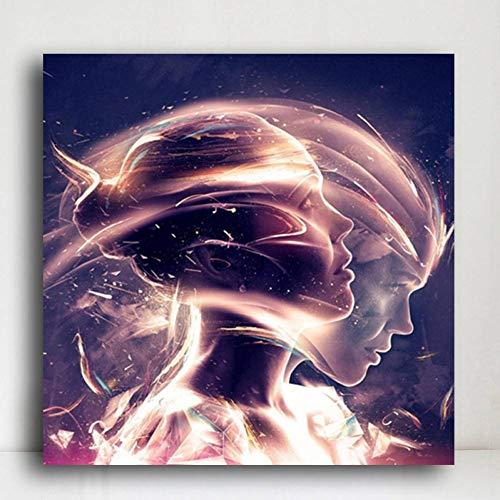 ZHANGFBH Leinwand Gemälde Kreative Mädchen Wasser In Licht Porträt Leinwand Malerei Poster Und Drucke Wandkunst Bild Für Wohnzimmer - Mono 40 Seiten In Farbe