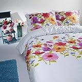 Aminata – bunte Bettwäsche á 135x200 cm Baumwolle + Reißverschluss Blumen Blüten Bettbezug Weiß Orange Rot Pink Blümchen Schmetterling 2-teiliges Bettwäscheset Bezug Ganzjahr Normalgröße Mädchen