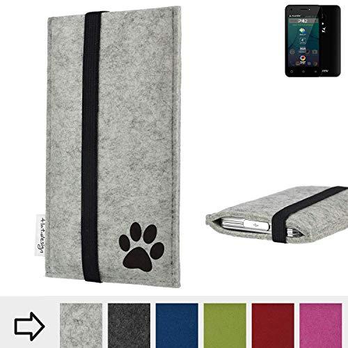 flat.design Handy Hülle Coimbra für Allview P42 individualsierbare Handytasche Filz Tasche fair Hund Pfote tatze