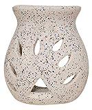 S&E's Decorative Ceramic Aroma Burner/ Oil Burner/ Oil Diffuser/ Lamps/ Diyas/ Tea Light Burners, White colour with dotted patterns (DD002)