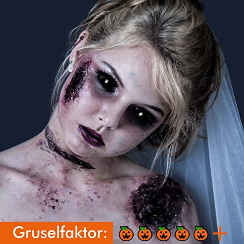Funlinsen Black Sclera-Markenqualität- 1 PAAR-D-22mm-schwarze Linsen,Cosplay, Larp, Zombie Kontaktlinsen, Crazy Funlinsen, Halloween, - Red Zombie Kostüm Kontaktlinsen