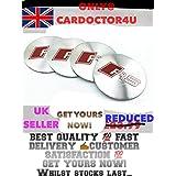 Audi RS rueda centro tapa adhesivo 3d aluminio Reino Unido 56mm), color plateado/Rojo