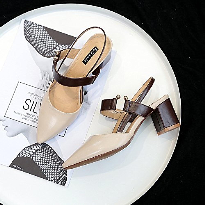 Die High-Heel Schuhe Frauen mit einzelnen Schuhe Baotou Sandalen Tipp ausgesetzt ist Weiß 39