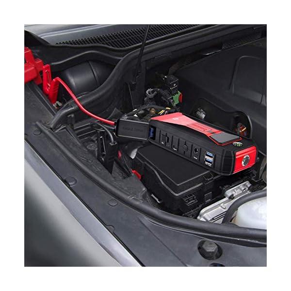 careslong Arrancador de Coches, 24000mAh 2200A Arrancador de Baterias de Coche (para Todo vehículo de Gasolina o 7.0L de…
