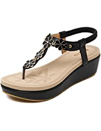 MEI&S Frauen Keilabsatz Boho Sandalen Flip Flop, Blau, 36