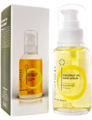 Focus Coconut Oil Hair Serum - Infused with Raw Virgin Olive Oil, Sweet Almond, Keratin, Aloe and Algae Extract - Rejuvenate, Strengthen and Restore Hair to Natural Beauty - 50ml