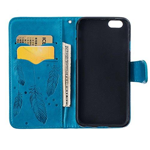 Case pour la Apple iPhone 6 (4,7 pouces) Coque,Campanula plume Étui en PU Cuir Phone Case Cover Couverture Fonction Support avec Fermeture Aimantée de Feuille Motif Imprimé+Bouchons de poussière (3ZD) 5