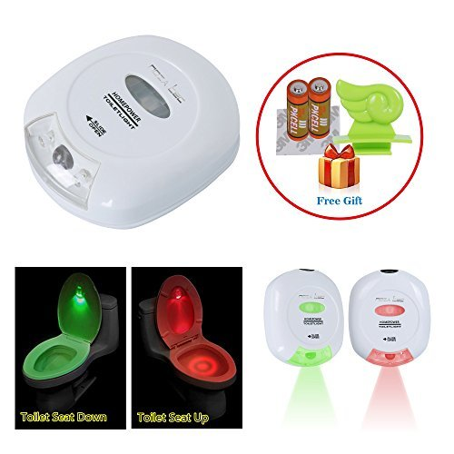 Noza Tec LED Sensor Motion Activated Toilet Nightlight Battery-operated with Red and Green Light Showing Toilet Seat Up or Down