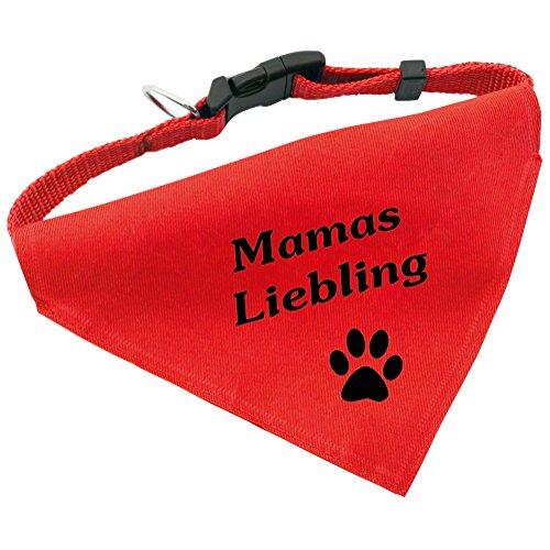 Hunde-Halsband mit Dreiecks-Tuch MAMAS LIEBLING, längenverstellbar von 32 – 55 cm, aus Polyester, in rot