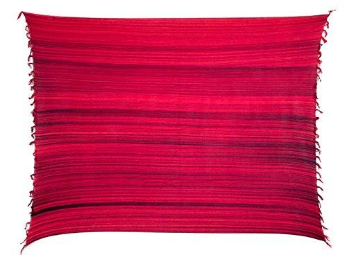 Ciffre Sarong Pareo Wickelrock Lunghi Dhoti Schal Strandtuch Streifen Rot + Schnalle