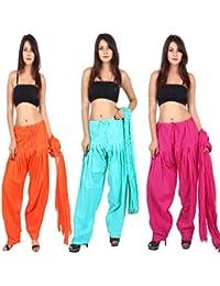 TEEJ New Women's Solid MultiC Oloured Cotton Punjabi Patiala Salwar With Dupatta Combo Offer Of 03 Pcs
