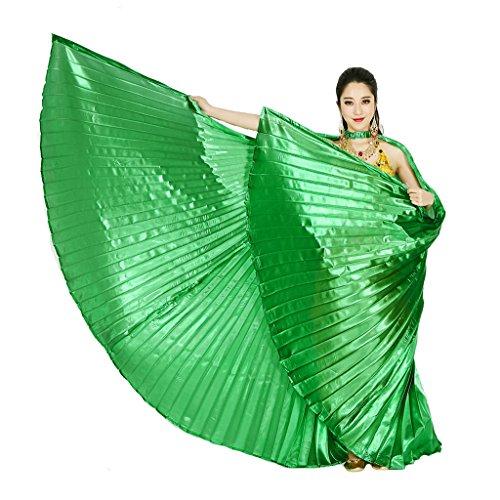 Kostüm Grüne Bauchtänzerin - Wuchieal Öffnung Bauchtänzerin Isis Flügel Dancing Requisiten Kostüm mit Stöcke Tasche (Grün, One Size)