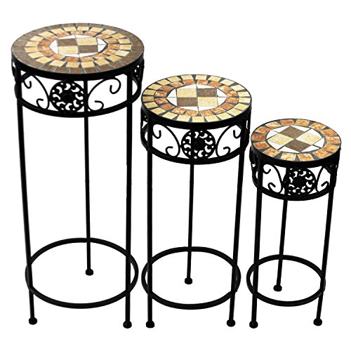 3er Set Mosaik Blumenständer rund Ø20/24/28cm Beistelltisch Balkontisch Mosaiktisch Blumenhocker Pflanzenständer Quadrat