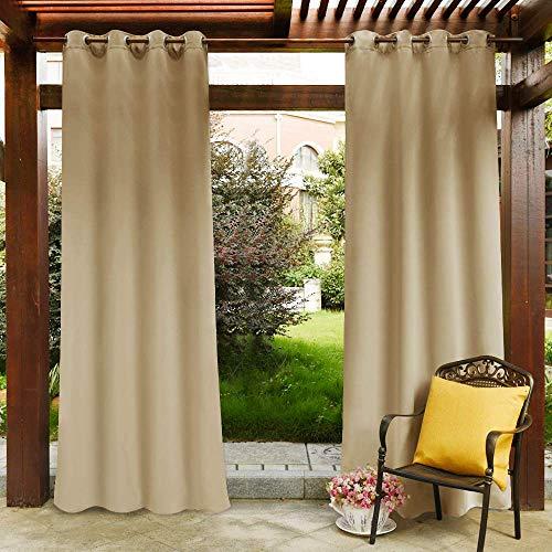 Clothink Outdoor Vorhänge mit Ösen 132x215cm Beige - Winddicht Wasserdicht Verdunkelungsvorhänge, Mehltau beständig, für Gartenlauben Balkon, Strandhaus Vorhalle, Pergola, Cabana