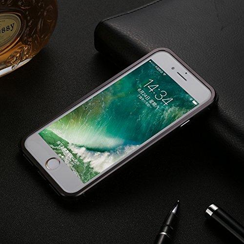 UKDANDANWEI Apple iPhone 7 Coque,Ultra-Mince Fibre de carbone Aluminium Métal Frame Plating Bumper Etui Housse Peau PC Couverture Hard Case Cover Arrière Protecteur pour Apple iPhone 7 - Noir Noir