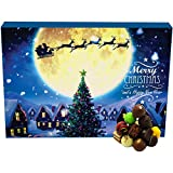 Hallingers 24 Pralinen-Adventskalender, mit/ohne Alkohol (300g) - Magische Reise (Advents-Karton) - zu Weihnachten Adventskalender