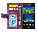 Cadorabo Hülle für Huawei P8 LITE 2015 - Hülle in Bordeaux LILA – Handyhülle mit 3 Kartenfächern - Case Cover Schutzhülle Etui Tasche Book Klapp Style