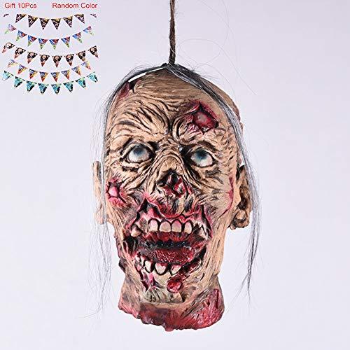 Erschreckende Zombie Kopf-Dekoration für Halloween, Karnevalsparty, Horror-Themenbar,Fauler Gesichts-Schädel